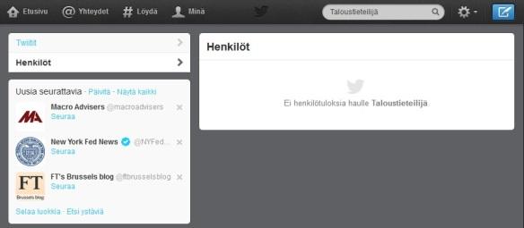 Suomalaisia taloustieteilijöitä ei Twitterissä näy